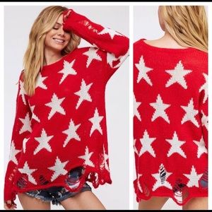 Tops - *Women's Red & White Star Distressed Sweater*